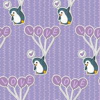 Seamless penguin is holding  balloon pattern.