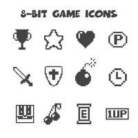 8-bit game icons vector