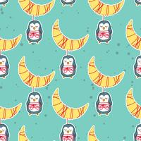 Seamless penguin and moon in sweet dream pattern.