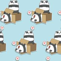 Seamless kawaii pandas and box pattern