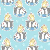 Seamless cat and panda in summer holiday pattern.