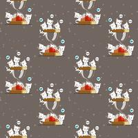 Seamless kawaii cats and hourglass pattern