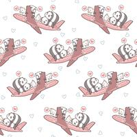 Panda e gatti svegli senza cuciture e sul modello dell'aereo