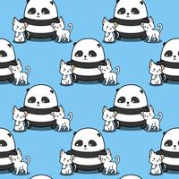 Panda sin fisuras ama patrón de gatos.