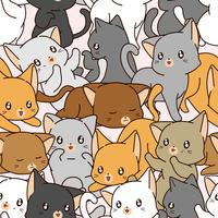 Seamless many of little cat pattern. vector