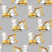 Seamless kawaii white cats and the tractor pattern