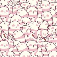 Seamless many pandas and cats pattern. vector