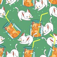 Seamless cute cat in summer pattern.