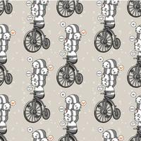 Seamless kawaii panda with the vintage bicycle pattern