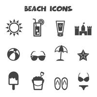 beach icons symbol vector