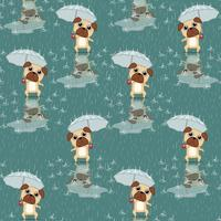 Seamless dog is holding umbrella pattern.