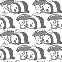 Seamless cat is taking care panda pattern.
