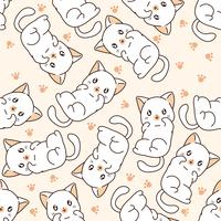 Seamless little cat pattern.