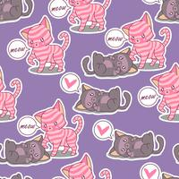 Seamless friendship of 2 cats pattern.