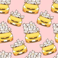seamless drawn kawaii cats in yellow car pattern.
