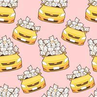 seamless drawn kawaii cats in yellow car pattern.