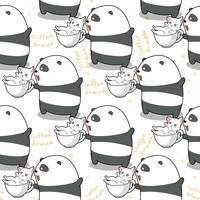 Seamless panda and cat in time to relax pattern.