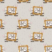 Seamless kawaii pandas and cats with a luxury frame pattern