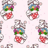 Seamless kawaii happy pandas is in a sock pattern