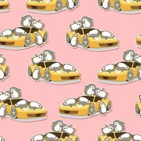 Seamless kawaii penguins and yellow sport car pattern. vector