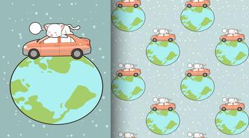 Seamless kawaii cat with car in the wolrd pattern