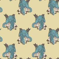 Seamless dragon character in cartoon style pattern vector