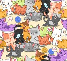Seamless many little cute cats pattern. vector
