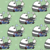 Kawaii panda y el gato sin costura están jugando el patrón de juguete