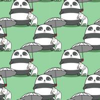 Seamless panda carrying umbrella with a cat pattern.