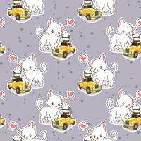 Seamless kawaii cat with small yellow car pattern