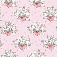 Seamless kawaii cats are loving a book pattern vector