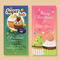 banner sale in christmas theme with cupcake