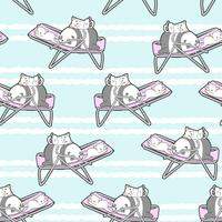 Naadloze panda en katten op het wiegpatroon.