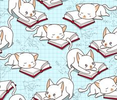 Seamless cute cat is reading a book pattern.
