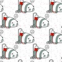 Seamless kawaii panda is sick pattern