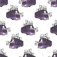 Seamless kawaii cats and pandas on bus pattern