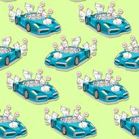 Seamless cute cats and blue super car pattern.