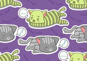 Seamless 2 lazy cats pattern.
