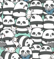 Sömlös pandas och kattmönster.