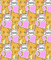 Seamless cat says hello pattern. vector