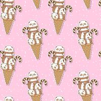 Seamless kawaii pandas on ice cream cone pattern