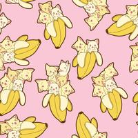 Seamless kawaii cats in banana pattern. vector