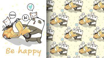 Seamless kawaii panda is lifting a motorcycle pattern