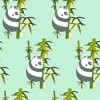 Seamless panda on bamboo pattern.