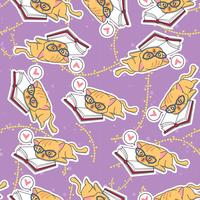 Seamless cute cat is learning pattern.