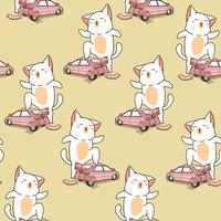 Seamless kawaii giant cat with a broken car pattern