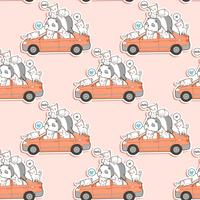 Seamless cute cats and panda with car pattern.