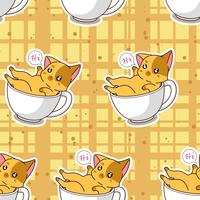 Seamless cute cat in a cup pattern.
