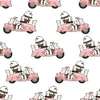 Seamless pandas and cats with motorbike pattern.