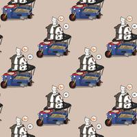 Seamless kawaii pandas and cats with broken motor tricycle pattern